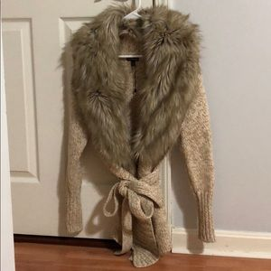 Express faux fur collar sweatercoat